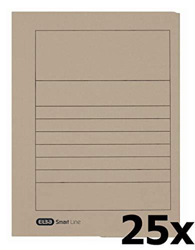 ELBA 100091162 Einschlagmappe Smart Line 25er Pack aus Karton mit 3 Innenklappen für DIN A4 grau ideal fürs Büro und die mobile Organisation