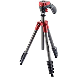 Manfrotto Compact Action Kit de Trépied + Rotule + Manette 5 sections Rouge