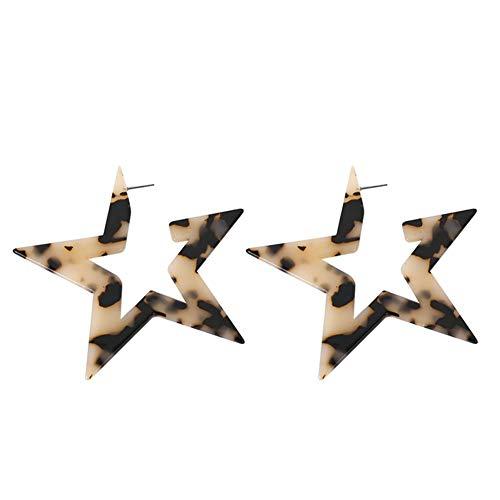 Qinlee Pentagramm Ohrstecker für Damen Gestüt Ohrringe Jungen Ohrschmuck Übertriebene Super Große Angesagten Nachtclub Art Kreis Stern Bolzen Ohrringe -Braun