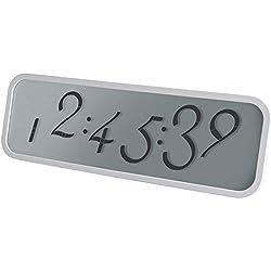 Lexon - Horloge Script Large - Horloge LCD - Murale ou à Poser - Gomme ABS