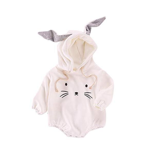 MAYOGO Mono Ropa Bebe Sudadera Manga Larga con Capucha Mameluco Conejo Bodis Ropa Animales para Bebe Niños Invierno Bebé… 1