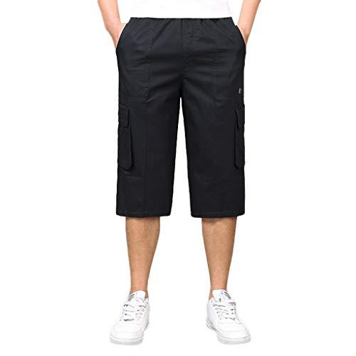 Cargo Shorts Herren Chino Kurze Hose Sommer Bermuda Sport Jogging Qmber Training Stretch Fitness Vintage Regular Fit Sweatpants 6XL übergroß Baumwolle Reißverschluss Sieben Punkt Tasche(Black,6XL) - Fleece Reißverschluss Jogger