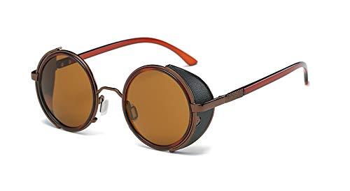 TYJMENG Sonnenbrillen Sonnenbrille Männer Sonnenbrille Retro Vintage Runde Metall Wrap Sonnenbrille Brille Uv400, C2 Kaffee W Braun