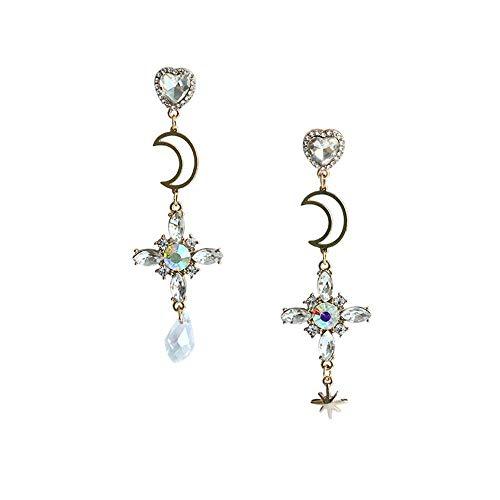 b2daeabc29a7 Pendientes Mujer Luna y cruz con diamantes de imitación con diseño francés  de Cruz asimétrica Largos Ysuing – Women s earrings Moon and cross with ...
