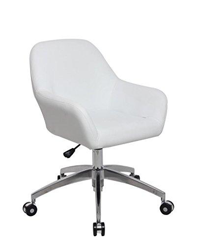 KAYELLES Chaise de Bureau Design CAPA, Fauteuil Bureau Vintage piétement Alu Poli (Blanc)