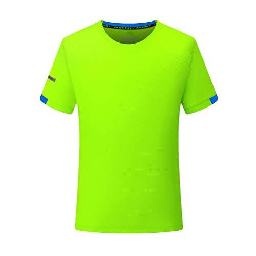 T-Shirt Herren Sommer Einfarbig Atmungsaktiv Top Lässiges O-Neck Fitness Sport Schnell Trocknend Outdoor Jogging Bluse Männer Trikot Hemd Grün Shirt -