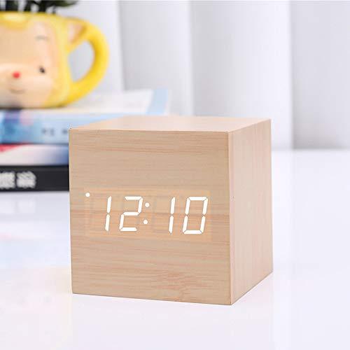 Reloj digital de madera con mini reloj despertador Cube, Reloj de mesa LED USB/Batería...