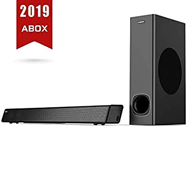 ABOX 2.1 Channel Soundbar & Subwoofer Surround Sound, 120W RMS, Bluetooth 4.2 Device Streaming + EDR Speaker System, Optical, Coaxial, AUX, USB, Wall Mountable (Optical cable Included) by ABOX