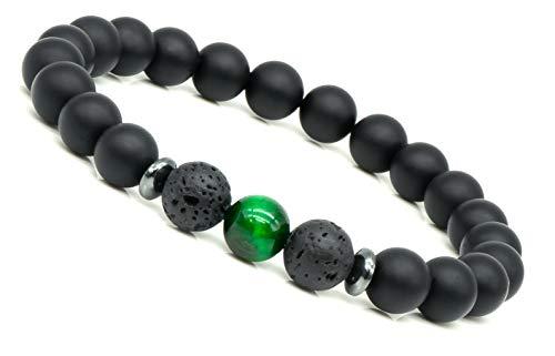Mister Boncuk® Spirit Energy Chakra Perlenarmbänder aus Onyx und Lava-Naturstein - Unisex Armbänder für Freizeit Yoga Meditation (Shiva (Tigerauge Grün)) -