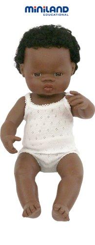 Miniland - Muñeco bebé Africano Niño de vinilo suave de...