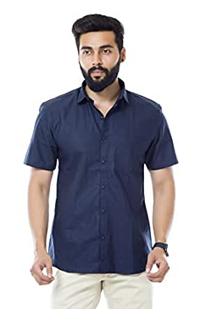 FIFTH ANFOLD FifthAnfold Men Solid Casual Blue Half Sleev Shirt