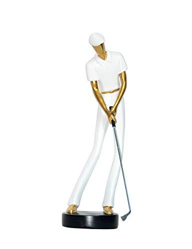 Golfer Skulptur Figur Statue Dekoration Geschenk Golf Sculpture Figurine Home Decor Handgemalt Polyresin 24cmH Weiß ()