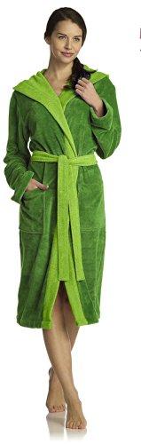 Vossen Bademantel für Damen und Herren mit Kaputze grün Gr. M