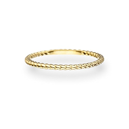 Glanzstücke München Damen-Ring Sterling Silber gelbvergoldet - Vorsteckring gedrehtes Seil Stapelring