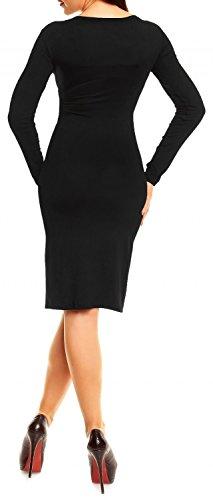 Glamour Empire Donna Casual Abito A Matita Eleganti Vestito Scollo A V 285 Nero