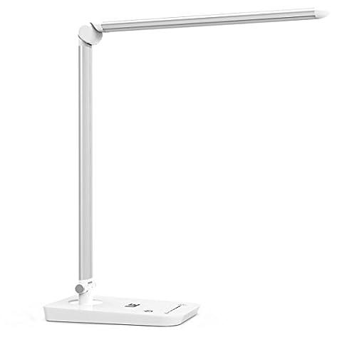 LE 8W Lampe de Bureau LED Pliable Rotative Lampe de Table à Poser avec 7 Niveaux de Luminiosité Réglable 6000K Contrôle par Pavé Tactile Design Esthétique - Blanche [Classe énergétique A+]