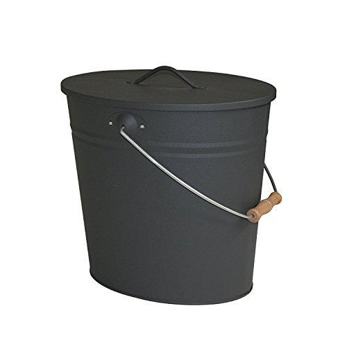 Stahleimer Ascheeimer Mehrzweckeimer oval mit Deckel für heiße Glut und Asche - Größe 15 l - Kohleeimer Kamineimer in matt schwarz