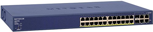 Netgear FS728TP 28-Port Fast Ethernet LAN PoE Switch Smart Managed Pro (10/100 MBit/s, mit 24x PoE 192W, 6x 1G Gigabit Kupfer/SFP, Rack-Montage und ProSAFE Lifetime-Garantie) blau