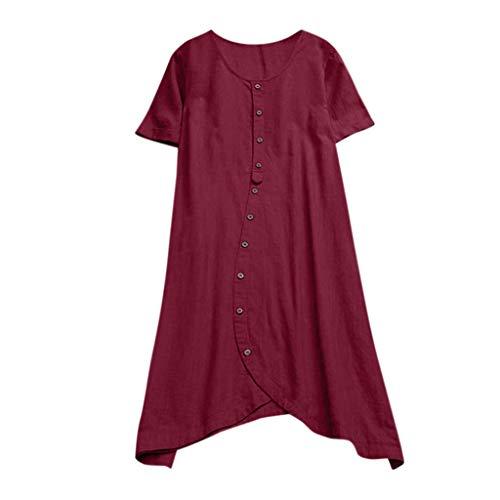 CAOQAO Mode Lange Tops Frauen UnregelmäßIgen RüSchen Saum Langarm Einfarbig Pullover Tops Party Bluse(rot,L)