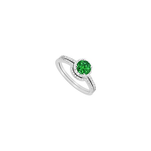Created Emerald Halo Engagement Ring and CZ Wedding Band Sets in 14K White Gold 1.15 CT TGW
