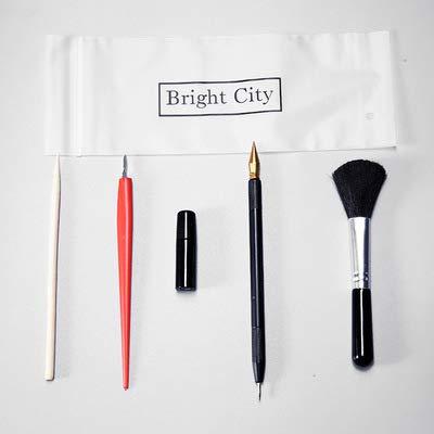 kakakooo 5pcs Scratch-Kunst-Werkzeuge Malerei Zeichnung Kunst Werkzeug-Set mit Stock-Scraper Flüssigkeit Scratch-Feder-Schwarz-Bürste Magicfly Zeichnung Bleistift-Skizze Set-Reparatur -