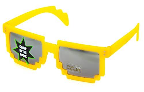 Nerd PIXEL Brillen Glow LEUCHTEN/Verschiedene Farben: Farbe: Grün Sonnenglas