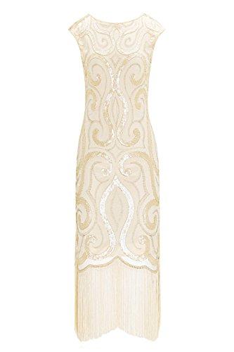 Metme Damen Charleston Kleid Retro 1920er Stil Flapper Kleider Kurzem Ärmel Gatsby Kleider Cocktail Kostüm Kleid