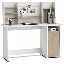mesa de ordenador escritorio con altillo cm blanco y roble para habitacin juvenil