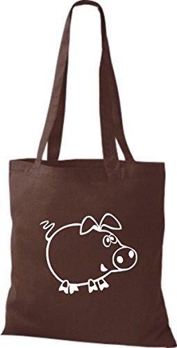 Shirtstown Pochette en tissu Animaux Cochon Cochon Porcelets Marron - Marron