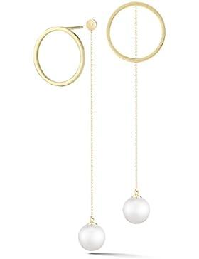Mateo NYC Damen 14Karat Gelbgold Kreis Kreolen mit Pearl Drop Ohrringe