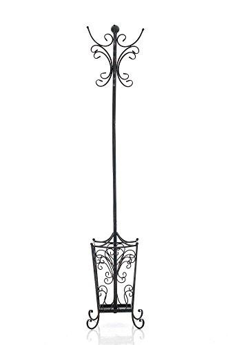 CLP Garderobenständer LOLA mit offenem Schirmständer | Antike freistehende Garderobe aus Metall | In verschiedenen Farben erhältlich Schwarz