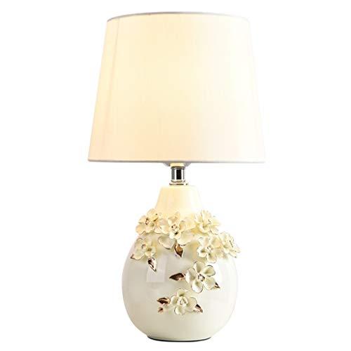 Schreibtischlampen Tischleuchten Amerikanische Emaille Keramik Tischlampe Schlafzimmer Nachttischlampe nach Hause Wedding Tischleuchte (weiß) Tisch-&Nachttischlampen (Color : Remote control switch) -