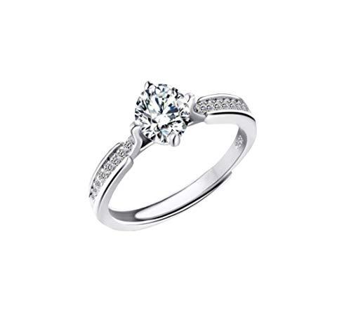 ★ Luxus Verlobungsring 925 Silber Ring Universal Größe Antragsring mit edlem Zirkonia Stein S001 ★