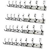 MAP Pack of 4 Stainless Steel Premium Fescue Dual Edge 8 pin Cloth Hanger .Bathroom Wall Door Hook