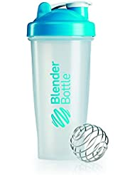 BlenderBottle Classic - Botella de agua y mezcladora, color turquesa-transparent, 820 ml