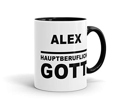 True Statements Tasse Dein Name - Hauptberuflich Gott - Personalisierte Kaffee-Tasse, Geschenk Zum Geburtstag, Weihnachten, Chef, Farbe Innen schwarz