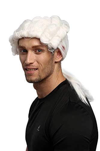 Wig me up ® - 0036-za103 parrucca uomo carnevale halloween barocco rinascimento riccia bianco coda lord cavaliere nobiluomo