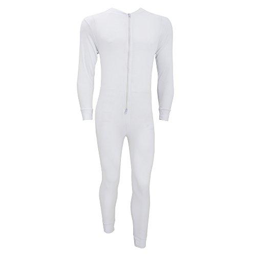 FLOSO® Herren Thermo-Unterwäsche / Thermo-Overall mit Reißverschluss (Brustumfang: 91-96 cm (Medium)) (Weiß)