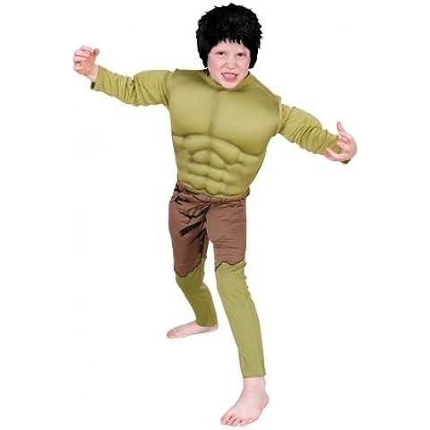 Marvel Avengers costume Hulk. Grandi 7-8 anni. Muscle costume petto e parrucca.
