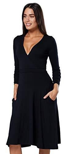 empire linie kleid Chelsea Clark Damen A-Linie Kleid Empire-Taille V-Ausschnitt Seitentaschen.614z (Schwarz, EU 36, S)