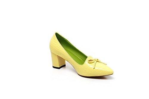 AgooLar Femme Couleur Unie Verni à Talon Correct Tire Pointu Chaussures Légeres Jaune