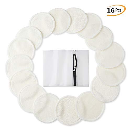 Tampons Démaquillants En Bambou (Paquet De 16), Tampons En Coton Biologique Réutilisables Avec Sac À Lessive, Nettoyage Lavable Du Visag