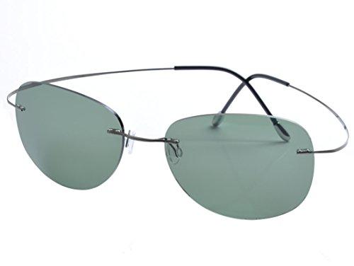 DEDING Herren Titan Randlose polarisierte Sonnenbrillen (grüne Linsen)