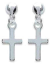 So Chic Joyas - Pendientes Colgantes Cruz Jesús Cristo Plata 925