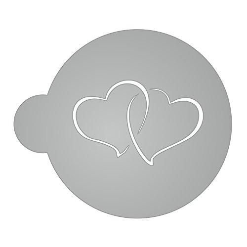 Schablone - Zwei Herzen - für Kaffee, Kakao, Milchschaum, kochen, backen, dekorieren - 2mm transparentes Acryl, sehr stabil, sehr langlebig - Größe S Herz Kaffee