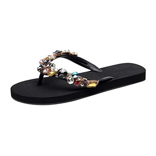 HuaMore,Zapatillas De Mujer, Zapatos Casuales, Zapatos de Playa, Bohemia, Sandalias Adornadas con PedreríA De Colores, Sandalias Verano Mujer.