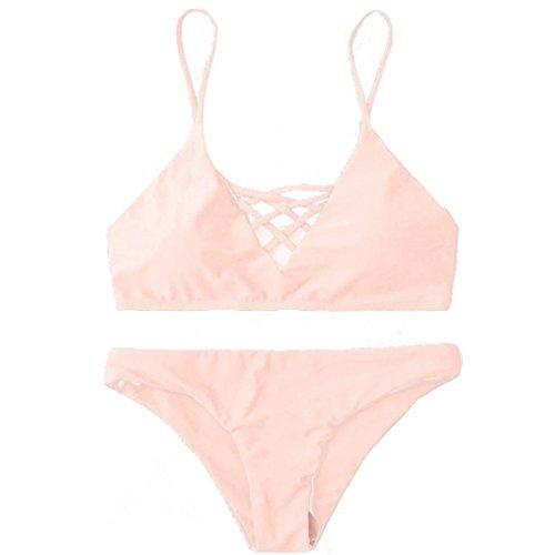 2017 Maillot de Bain, Xinan Femmes Swimwear Bikini Set Sexy Bandage Push-Up Beachwear Rose
