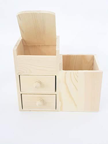 takestop® Organizer mit 2 Schubladen 4 Fächer aus Holz RF_63815 Stifte Bleistifte Bleistifte Lagerregal Bücherregal Büro Haus DECOUPAGE (2 Schubladen Bücherregal)