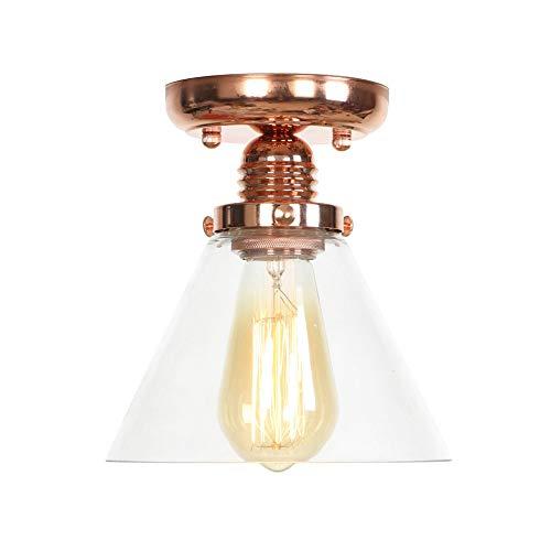Moderne Sphärische Roségold Vintage Metall Transparent Glas Decke Lampenschirm Loft Cafe Küche Deckenleuchte (Keine Glühbirne) -