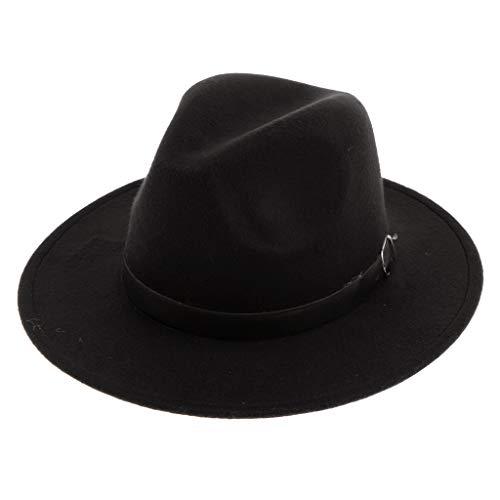 Sharplace Sombrero de Fedora Fieltro de Lana Ala Ancha con Correa Ajustable Estilo Retro para Mujer - Negro, como se describe